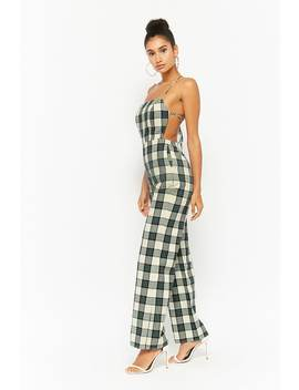 Plaid Open Back Jumpsuit by Forever 21