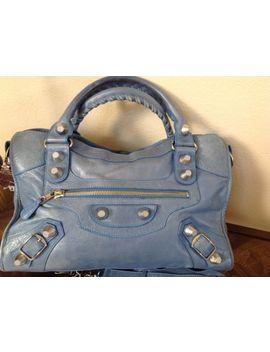 Auténtico Balenciaga Cuero Plata Azul Bolso De Hombro Bolso by Ebay Seller