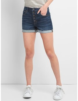 Washwell High Rise Denim Shorts With Exposed Button Fly by Gap