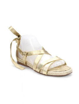 Miu Miu Gold Tone Leather Strappy Wrap Ankle Strap Espadrilles Sandals Size 8 M by Miu Miu