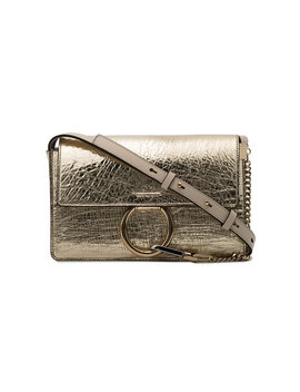 Gold Faye Small Leather Shoulder Bag by Chloé