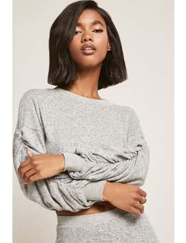 Heathered Knit Ruched Jumper by F21 Contemporary