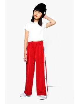 Girls Popper Trouser & Rib Top Set by Boohoo