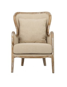 Crenshaw Fabric Wing Chair Beige   Christopher Knight Home by Christopher Knight Home