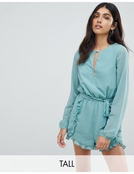 Glamorous Tall Romper With Frill Shorts And Tie Waist by Glamorous Tall