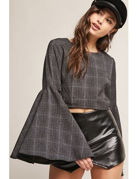 Check Bell Sleeve Crop Top by F21 Contemporary