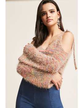 Fuzzy Multicolor Open Shoulder Top by F21 Contemporary