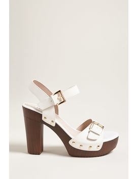 Buckle Faux Leather Platform Heels by Forever 21