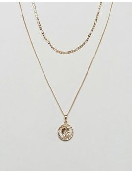 Chained & Able Gold Mini Crucifix Medallion Figaro Pack Necklace In Gold Exclusive To Asos by Chained & Able