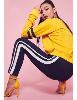 Yellow Drop Shoulder Stripe Arm Band Sweatshirt by Missguided