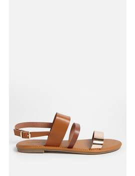 Faux Leather Metallic Strap Sandals by Forever 21