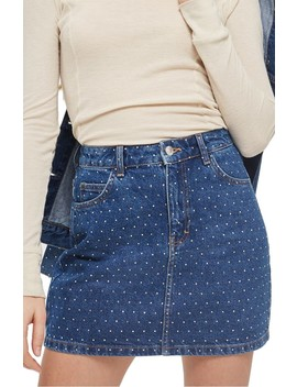 Crystal Studded Denim Miniskirt by Topshop