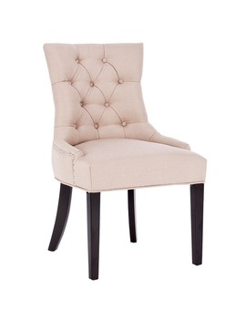Costway Fabric Dining Chair Tufted Leisure Padded Upholestered Nailed Trim W/ Wood Legs by Generic