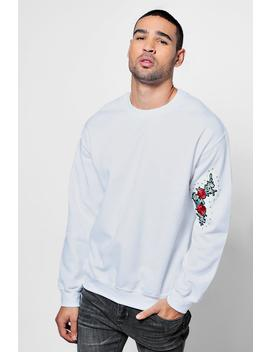 Crew Neck Sweat One Side Sleeve Floral Embroidery by Boohoo