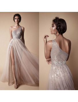 2018 High Side Split Sexy Wedding Gowns Bohemian One Shoulder Lace Appliqued Bridal Gowns Modern Simple Vestido De Novia by Lisong Haute Couture Store