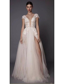 Sexy Side Slit 2017 Muse Bridal Gown Cap Sleeves Deep Plunging V Neck Embellished Bodice Lace Tulle Skirt Open Bridesmaid Dress by Black Diamond Bridal Dress Factory