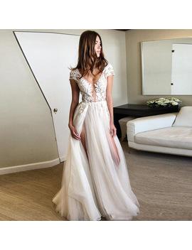Vestido De Festa Capped Sleeve Party Dreses Deep V Neckline Custom Made Formal Dresses Robe De Soiree Longue Pageant Dress Long by Hzwl Store
