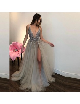 Abiye Sexy Gray  Rhinestone Tulle Prom Gowns Women Deep V Neck Backless Party Dress Crystal Formal Dress 2018 Abendkleider  by Shop3083107 Store