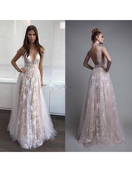 Champagne A Line Elegant Formal Dresses Vestido De Festa Party Gowns V Neck Appliques Robe De Soiree Longue Abiye Formal Dress by Downton Classy Couture Store