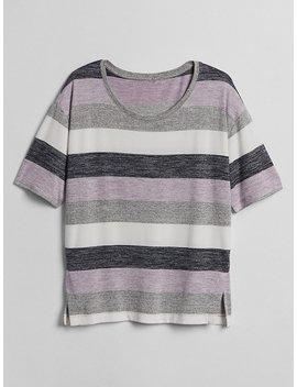 Softspun Stripe Scoop Neck T Shirt by Gap