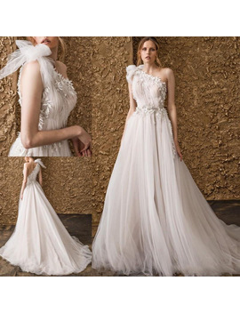 2018 Fashion One Shoulder Wedding Gowns Bohemian Sexy Lace Appliqued Charming Bridal Gowns A Line Beach Wedding Gowns Custom by Lisong Haute Couture Store