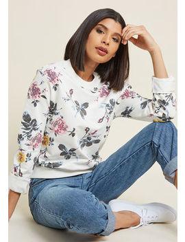 Famously Feminine Floral Sweatshirt In Ivory Famously Feminine Floral Sweatshirt In Ivory by Modcloth