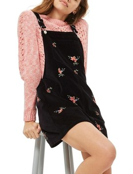 Embroidered Velvet Pinafore Dress by Topshop