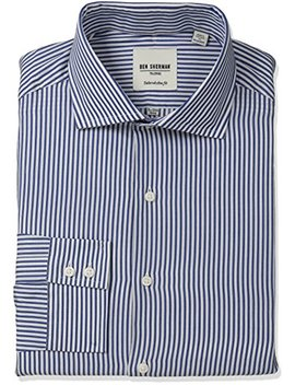 "Ben Sherman Men's Slim Fit Dobby Stripe Spread Collar Dress Shirt, Royal, 15"" Neck 32"" 33"" Sleeve by Ben Sherman"