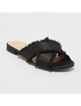 Women's Sephorie Satin Frayed Crossband Slide Sandals   A New Day™ by A New Day™
