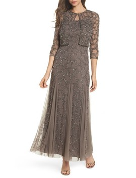 Sequin Mesh Gown With Jacket by Pisarro Nights