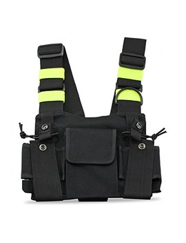Abc Goodefg Radio Chest Harness Chest Front Pack Pouch Holster Vest Rig For Two Way Radio Walkie Talkie(Rescue Essentials) (Leather Black) by Abc Goodefg