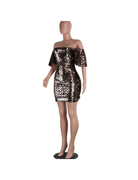 Preself Dresses New Sexy Fashion Women Mini Dress Slash Neck Off Shoulder Sheath Sequins Clubwear Party Club Cocktail Bodycon by Preself Official Store