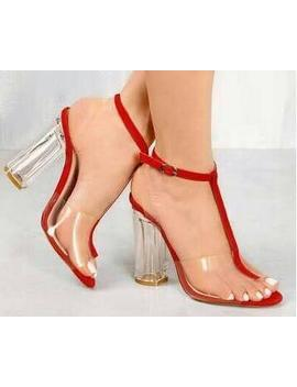 2018 New Fashion Women Open Toe Pvc Transparent Thick Heel Sandals Ankle Strap High Heel Sandals Dress Shoes by Chmaori High Quality Footwear Store