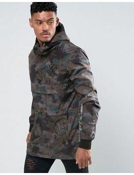 Sik Silk Overhead Windbreaker Jacket In Camo by Sik Silk