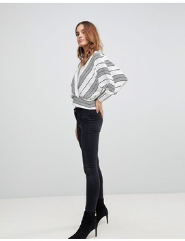Asos Batwing Plunge Top In Casual Stripe by Asos Collection
