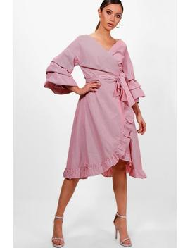Michelle Rouched Sleeve Ruffle Wrap Midi Dress by Boohoo