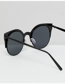 Asos Half Kitten Cat Eye Metal Sunglasses In Matt Black by Asos Collection