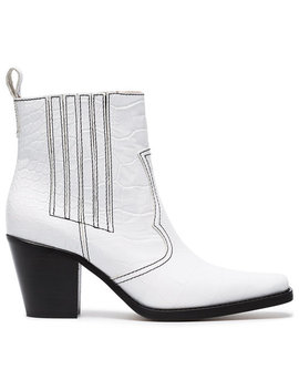 White Callie 70 Leather Ankle Boots by Ganni