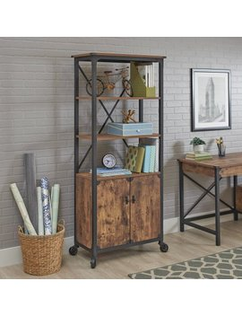 Better Homes And Gardens Rustic Country Library With 2 Doors, Weathered Pine Finish by Better Homes And Gardens