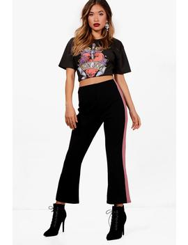 Katia Crepe Stripe Side Cropped Flare Trousers by Boohoo