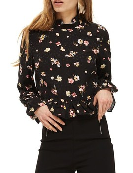 Floral Print Peplum Blouse by Topshop