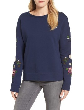 Embroidered Sleeve Sweatshirt by Caslon®