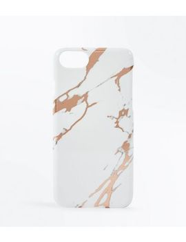 White Marble And Metallic I Phone Case by New Look