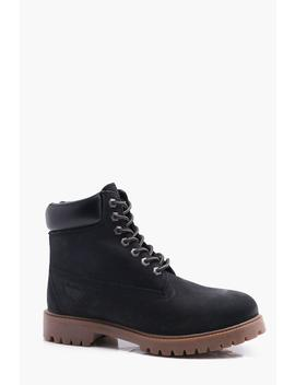 Black Real Leather Worker Boots by Boohoo