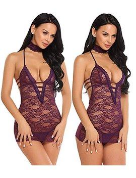 Avidlove Women Lace Lingerie Halter Chemise Floral Babydoll Sexy Nightie Dress by Avidlove