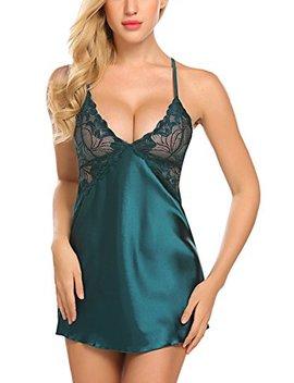 Avidlove Women Lingerie V Neck Nightwear Satin Sleepwear Lace Chemise Mini Teddy by Avidlove