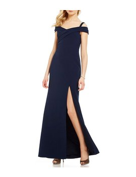 Off The Shoulder Front Slit Gown by Aidan Mattox