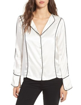 Dita Contrast Piping Satin Shirt by Line & Dot