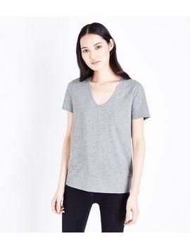 Grey Marl Organic Cotton V Neck T Shirt by New Look