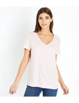 Pink Organic Cotton V Neck T Shirt by New Look